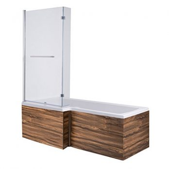 Duschbadewanne | Badewanne mit Duschtrennwand | Badewanne mit Duschverkleidung | Badewanne mit Duschwand | Duschbadewanne mit Wallnussverkleidung