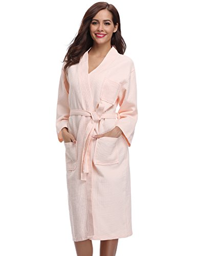12458c813e Aibrou Damen Bademantel Saunamantel Frottee Lang Baumwolle Morgenmantel  Nachtwäsche Homewear Kleidung V Ausschnitt Rosa S - duschbadewanne24