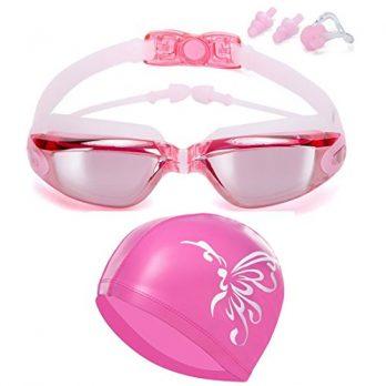 Schwimmbrille Damen | damen Schwimmbrille | Schwimmbrille pink mit badekappe