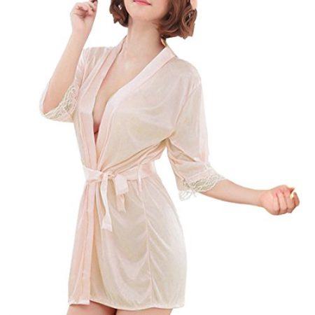 42bdf736f1e3ea Sidiou Group Nacht Robe Damen Kimono Morgenmantel Satin Kimono Robe Kurz  Bademantel Frauen Schlafanzug Nachtwäsche Satin Nachthemd