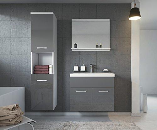 Badezimmer Badmöbel Set Montreal 60 Cm Waschbecken Hochglanz Grau