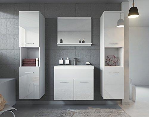 Badezimmer Badmöbel Set Montreal Xl 60 Cm Waschbecken Weiß Hochglanz