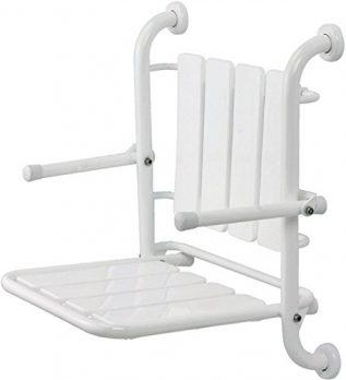 Sitzgelegenheit Dusche, duschklappsitz, wandklappsitz für Dusche, duschklappsitz mit rückenlehne und armlehne, wandsitz für dusche mit klappsitz und armlehne